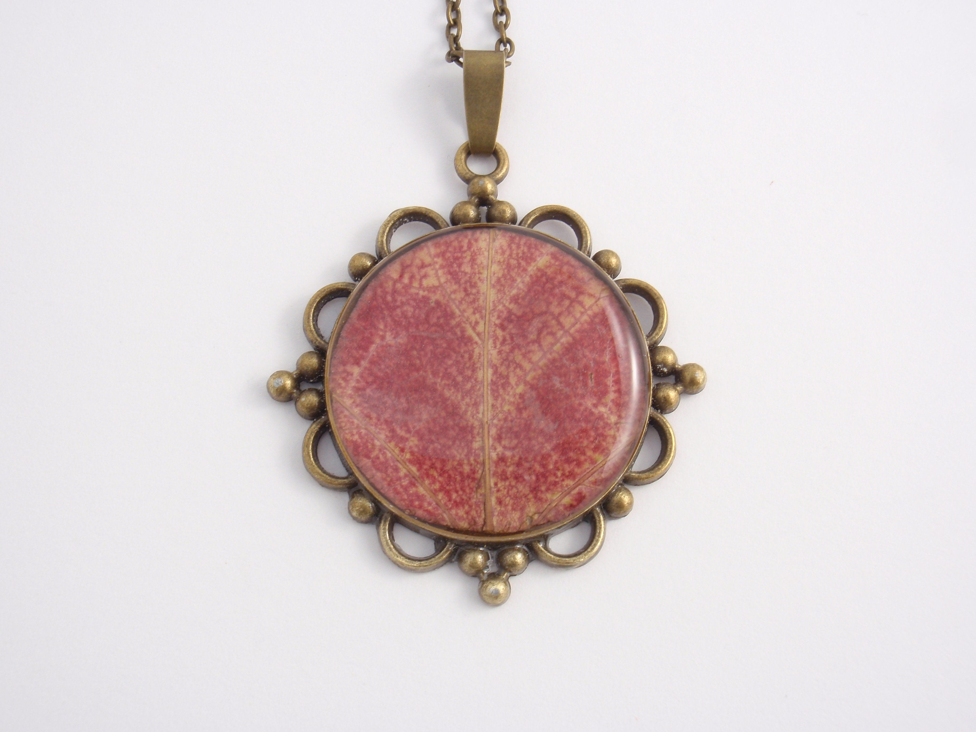 """Early Autumn"" - a real autumn maple leaf pendant on a long antique bronze chain"