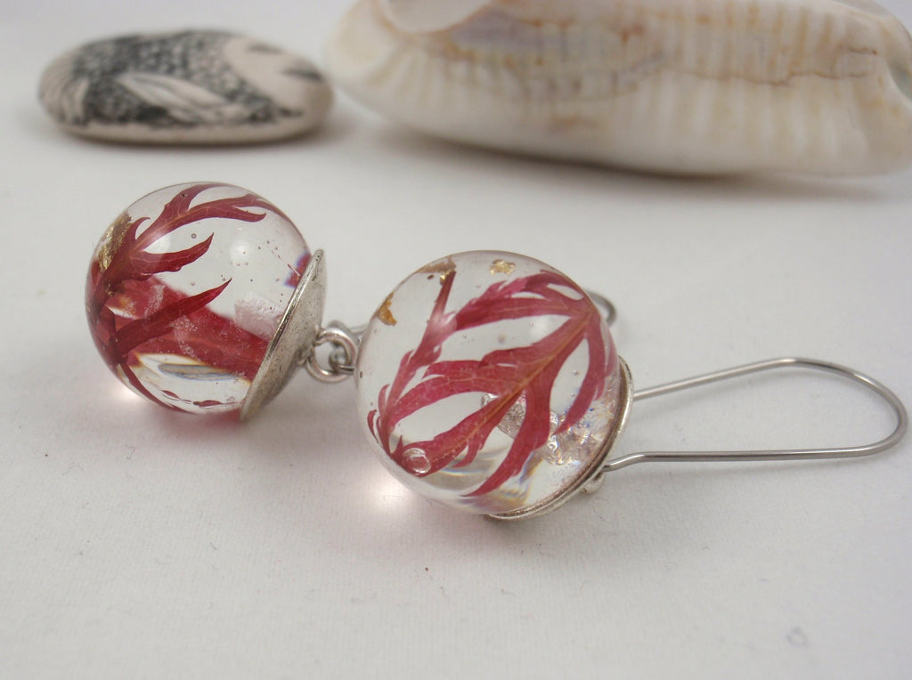 Earrings with red japanese maple autumn leaves