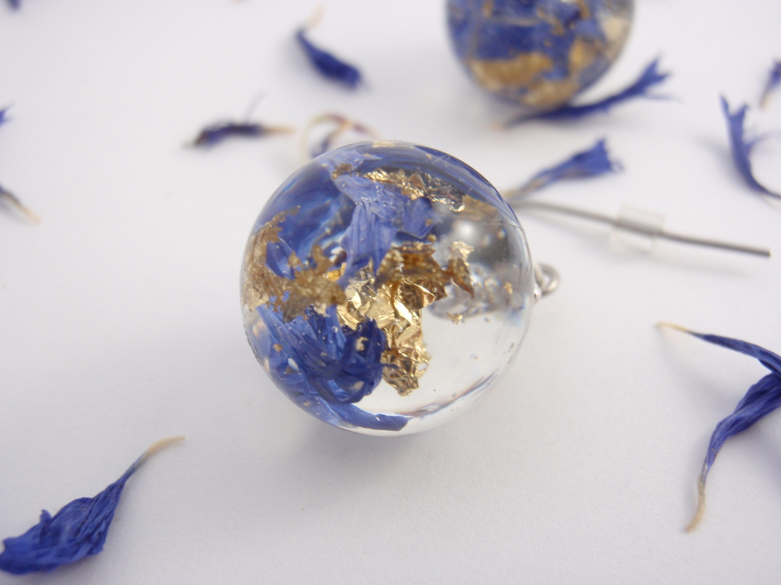 Unique earrings with real cornflower petals and golden leaves