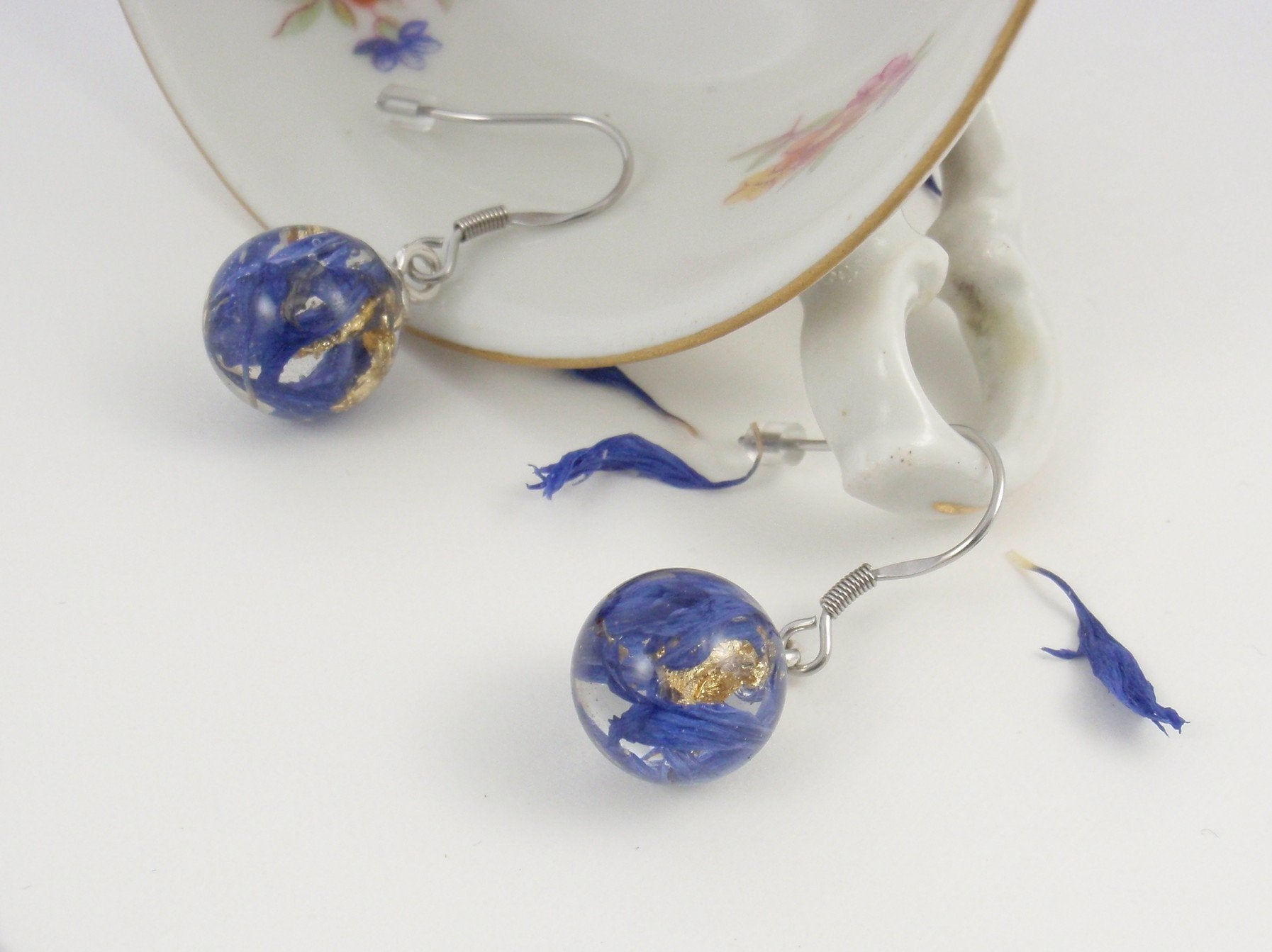 """Blue Water"" - a pair of tiny cornflower earrings"