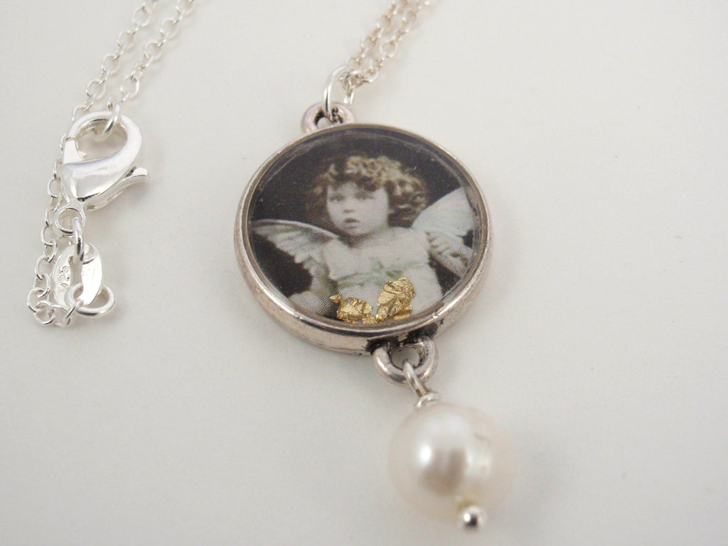 Guardian angel - vintage postcard re-framed necklace