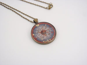 """The Cosmic Tree"" - art reframed pendant based on medieval illuminated manuscript"