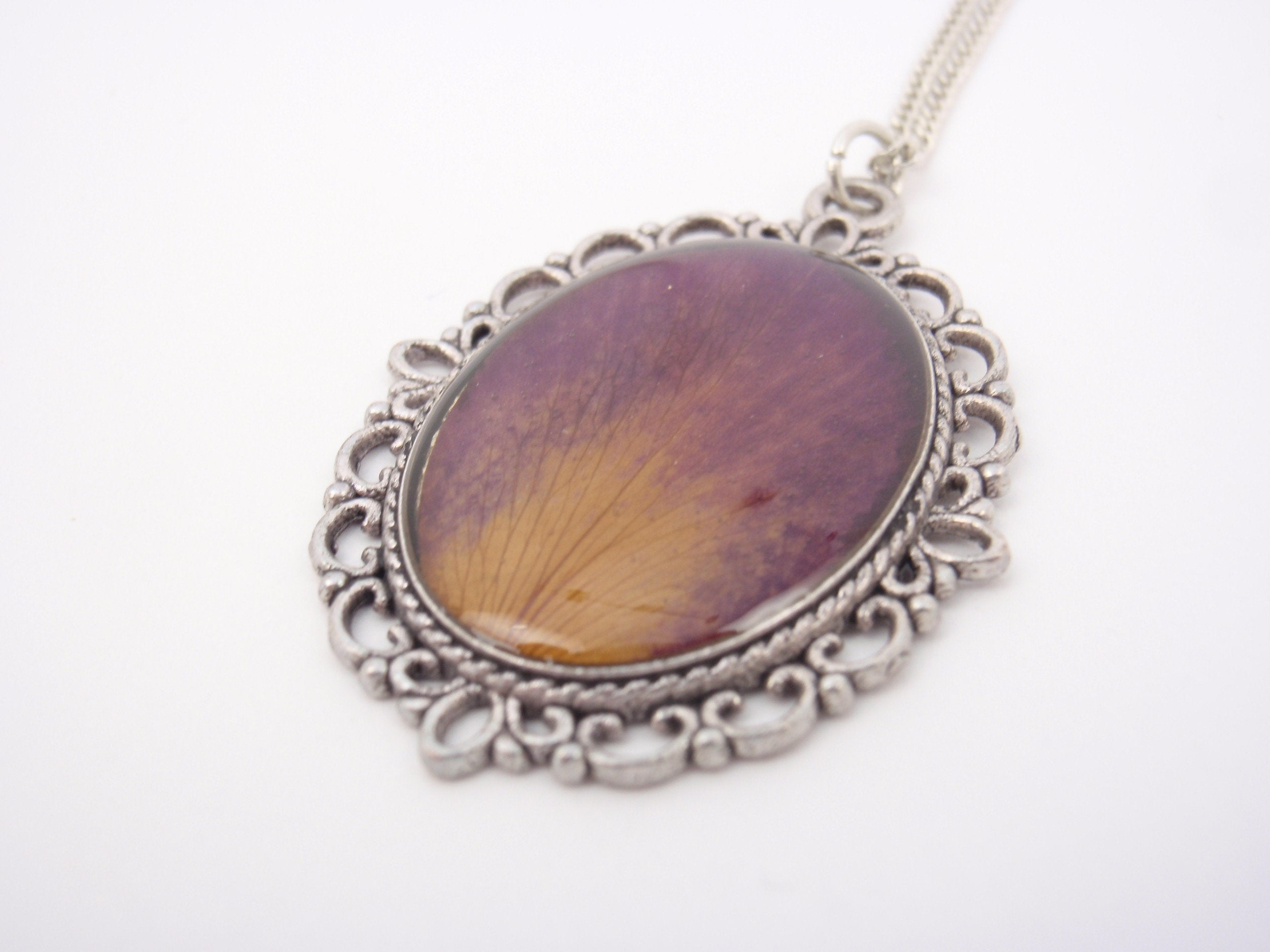 """Memories of Last Summer"" - rose petal on a long silver plated necklace"
