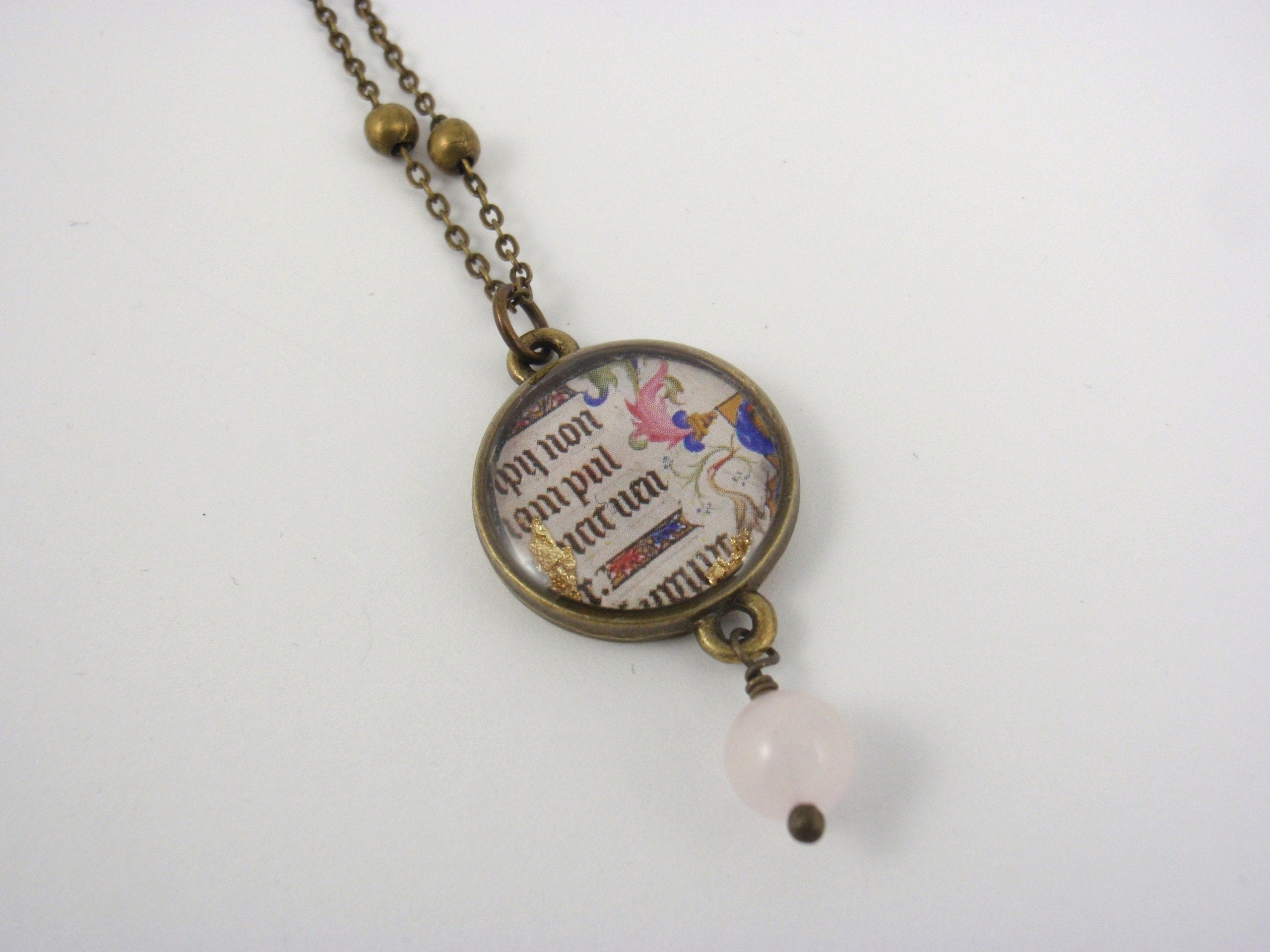 """Carolingian Minuscule"" - Art Reframed necklace with semi-precious stone"