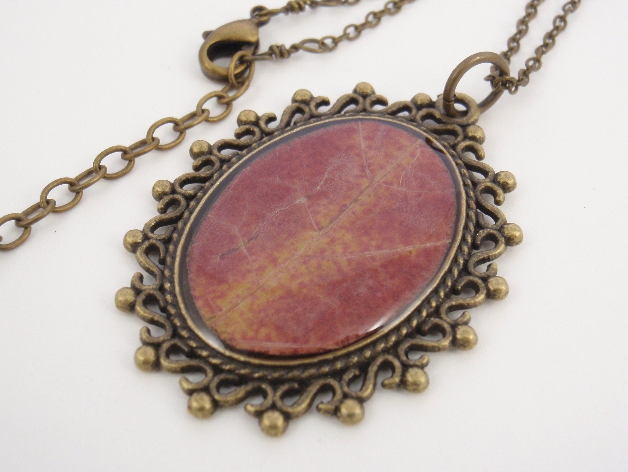 """Like a Sunset"" - unique handmade pendant with an autumn red maple leaf"