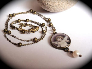 Angel necklace, vintage photo necklace with freshwater pearl