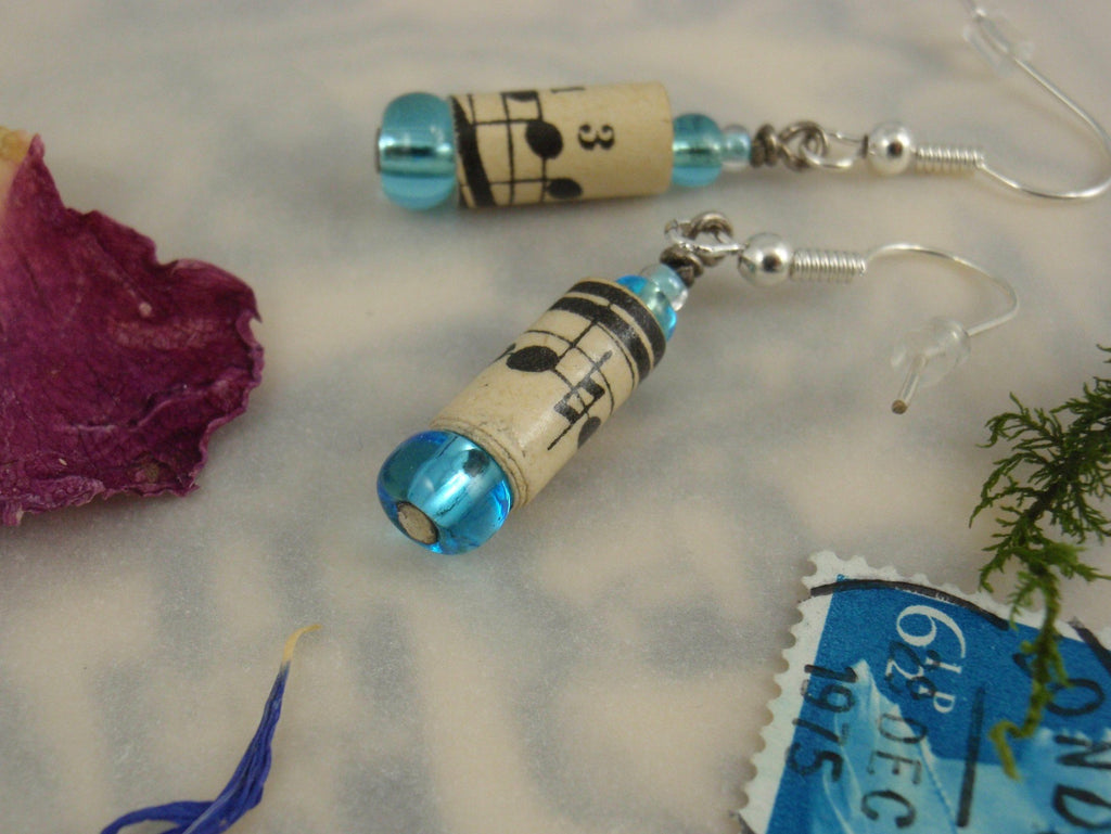 Vintage music-sheet paper earrings