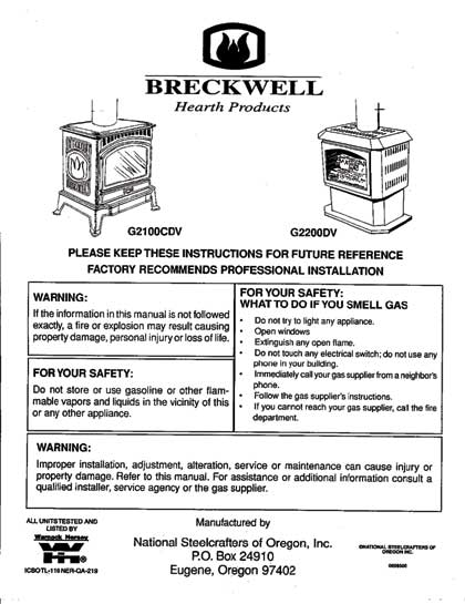 Breckwell G2100CDV and G2200DV Owners Manual