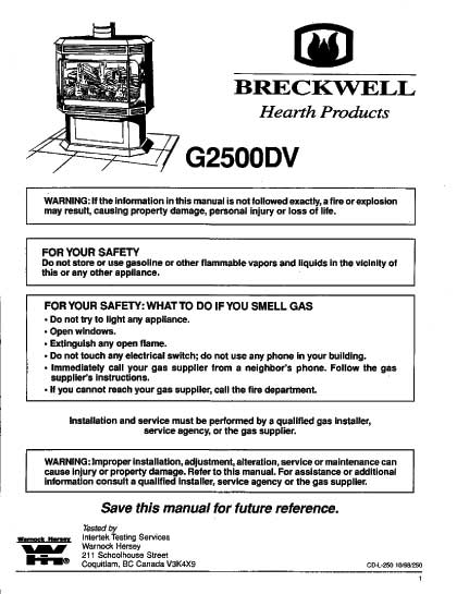 Breckwell G2500DV Owners Manual