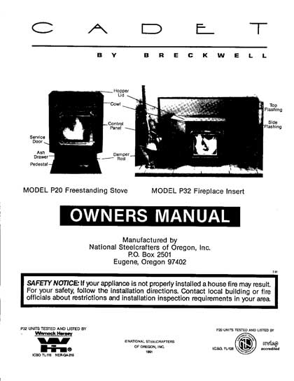 Breckwell P20-P32 1991-1992 Owner's Manual