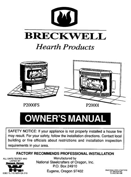 Breckwell P2000 1998 Owner's Manual