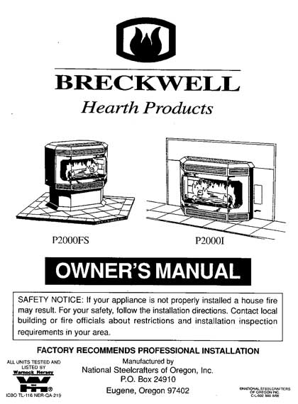 Breckwell P2000 1999 Owner's Manual