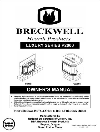 Breckwell P2000 2004 Owner's Manual
