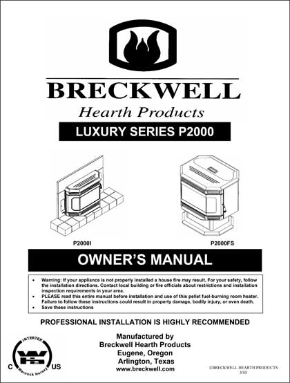 Breckwell P2000 2005 Owner's Manual