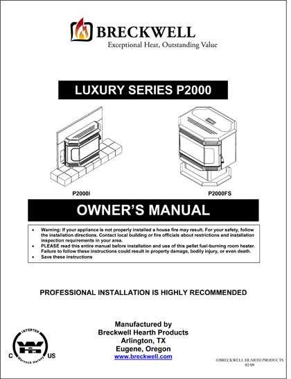 Breckwell P2000 2009 Owner's Manual