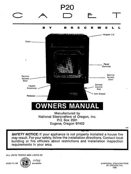 Breckwell P20 Cadet Owners Manual 1990