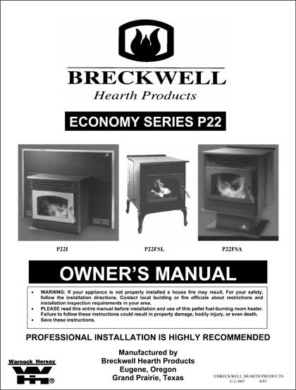 Breckwell P22 Owner's Manual 2003