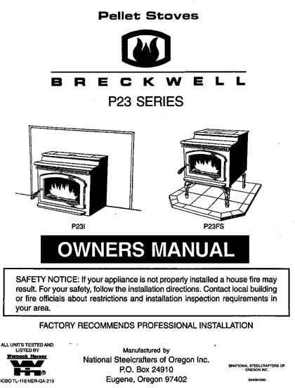 Breckwell P23 1996 Owner's Manual