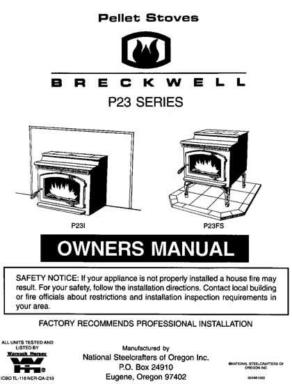 Breckwell P23 1997-1998 Owner's Manual