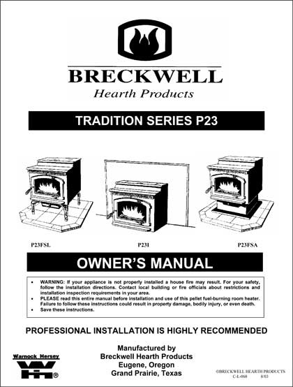 Breckwell P23 2003 Owner's Manual