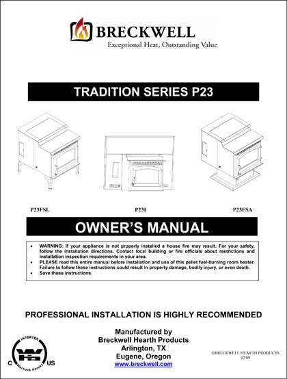 Breckwell P23 2009 Owner's Manual