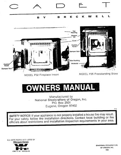 Breckwell P26 - P32 1993 Owner's Manual
