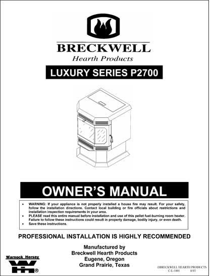 Breckwell P2007 2002 Owner's Manual