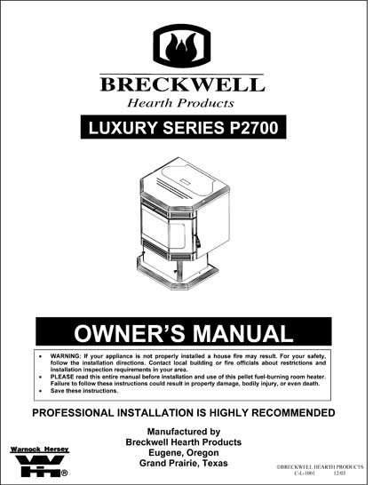 Breckwell P2007 2004 Owner's Manual
