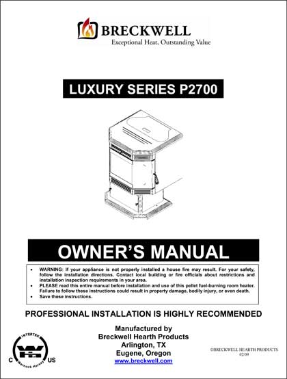 Breckwell P2007 2009 Owner's Manual