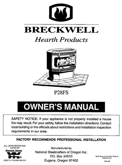 Breckwell P28 1996 Owner's Manual