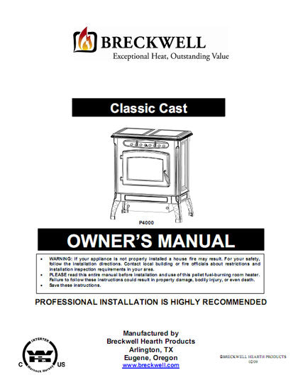 Breckwell P4000 2009 Owner's Manual