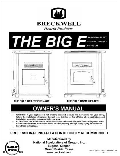 Breckwell The Big E - 2004 Owner's Manual