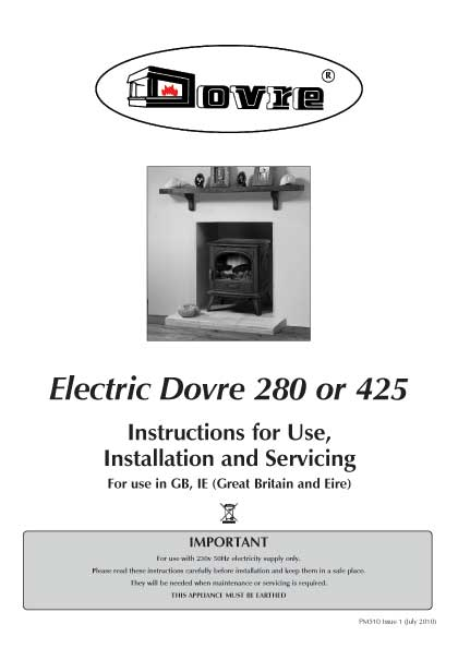 Dovre 280 and 425 Electric Stove Manual