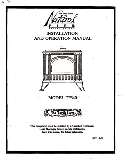 Earth Stove Traditions TP340 Owner's Manual