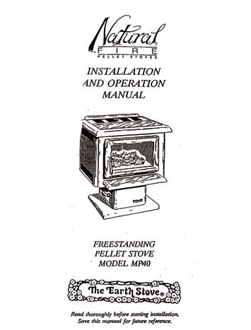 Earth Stove MP40 Owner's Manual