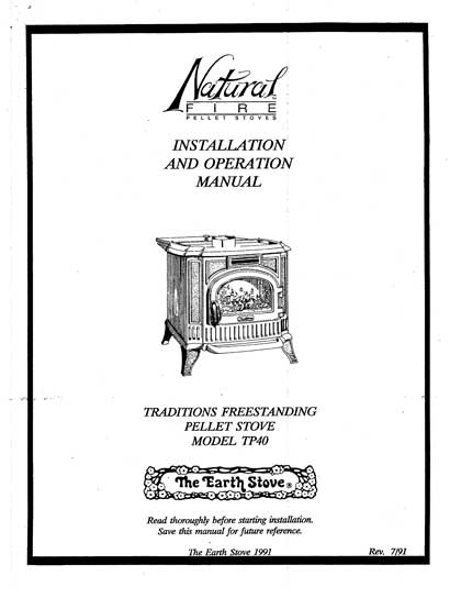 Earth Stove Traditions TP40 Owner's Manual
