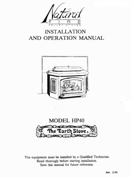 Earth Stove Traditions HP40 Owner's Manual