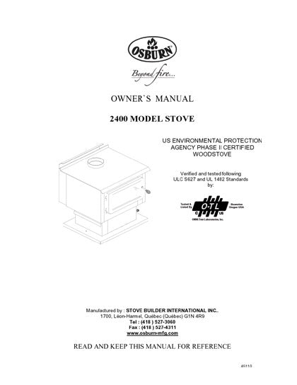 Osburn 2400 Owner's Manual SN Less Than 9894