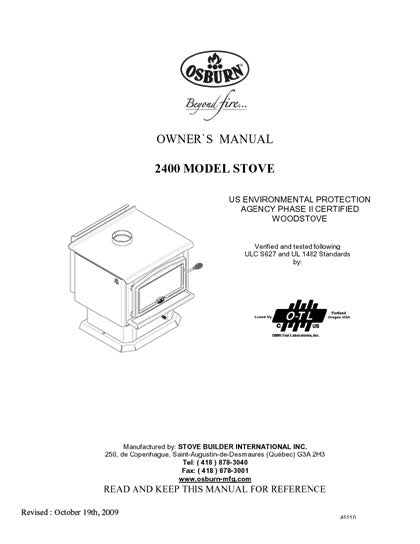 Osburn 2400 Owner's Manual SN Greater Than 9893