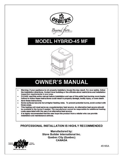 Osburn Hybrid 45 Owner's Manual SN 1745-2094