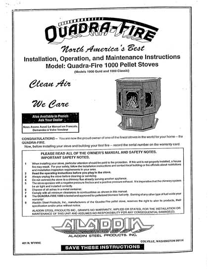 Quadra Fire 1000 Owner's Manual
