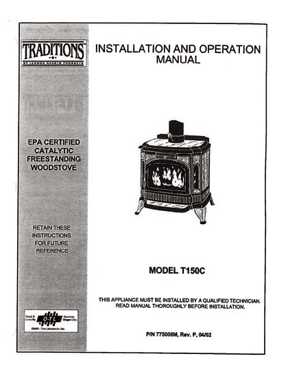 Traditions T150C Wood Stove Manual