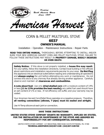 USSC American Harvest 6037 Manual