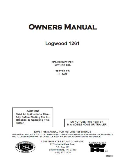 Logwood 1261 Owner's Manual