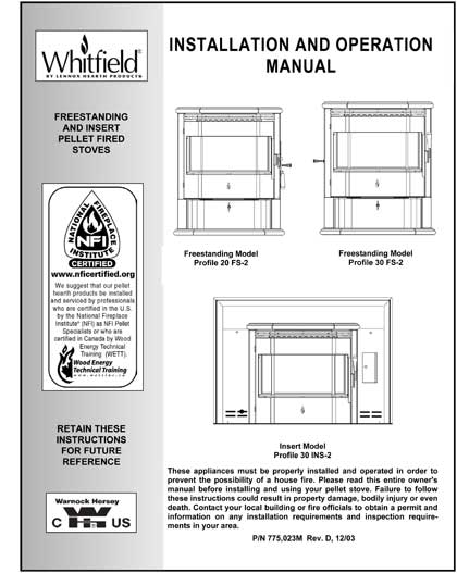 Whitfield Profile 20-30 Owner's Manual