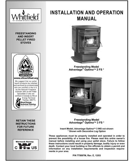 Whitfield Optima Owner's Manual