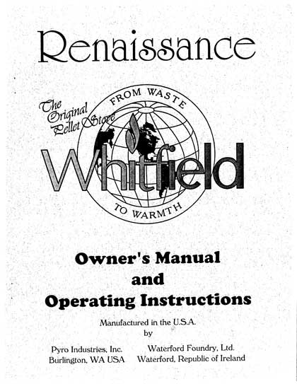 Whitfield Renaissance Owner's Manual