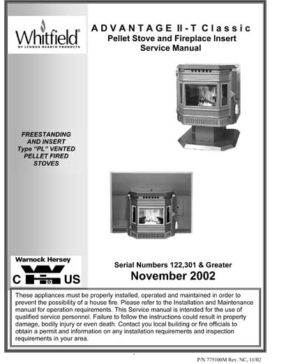 Whitfield Advantage II-T Owner's Manual
