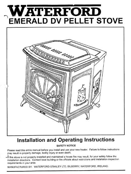 Waterford Emerald Pellet Stove Manual