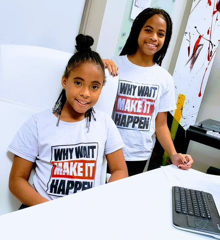 ENE TRENDS NIAM ELYSE WHY WAIT MAKE IT HAPPEN SHIRT IN OFFICE RECORDING STUDIO YOUNG GIRLS MUSIC BUSINESS